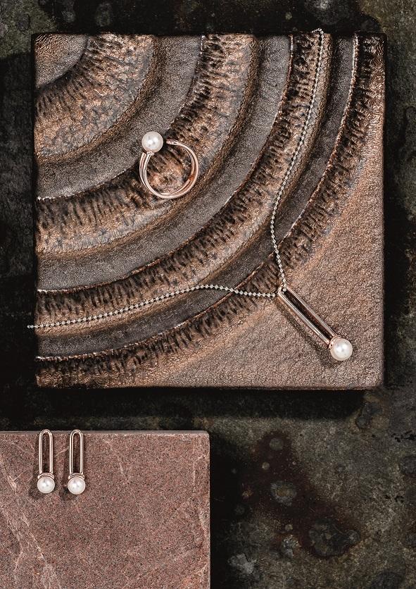 WORMS Paris - la perle en mode minimaliste - Parure pendentif et bague or rose